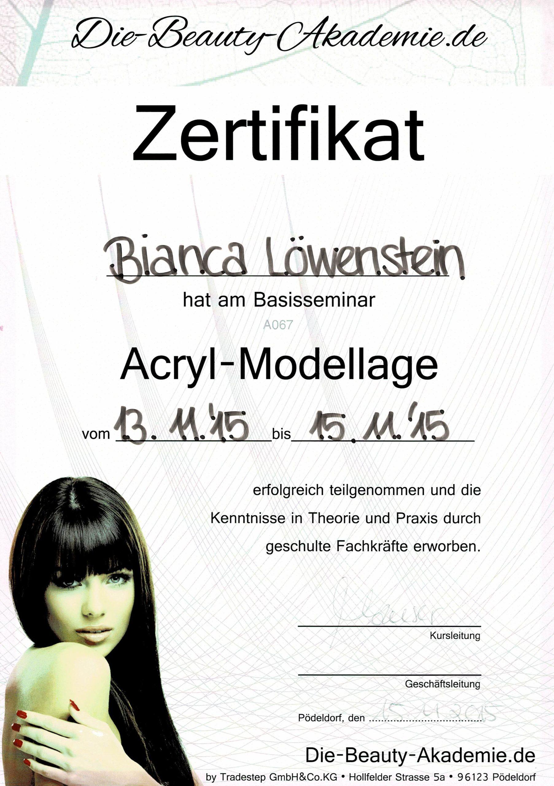 Zertifikat der Beauty Akademie für Acryl-Modellage