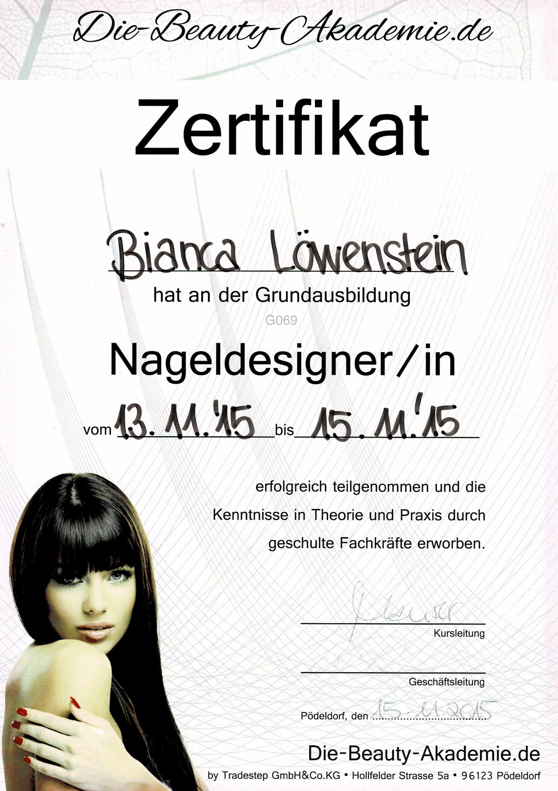 Zertifikat der Beauty Akademie für Nageldesign