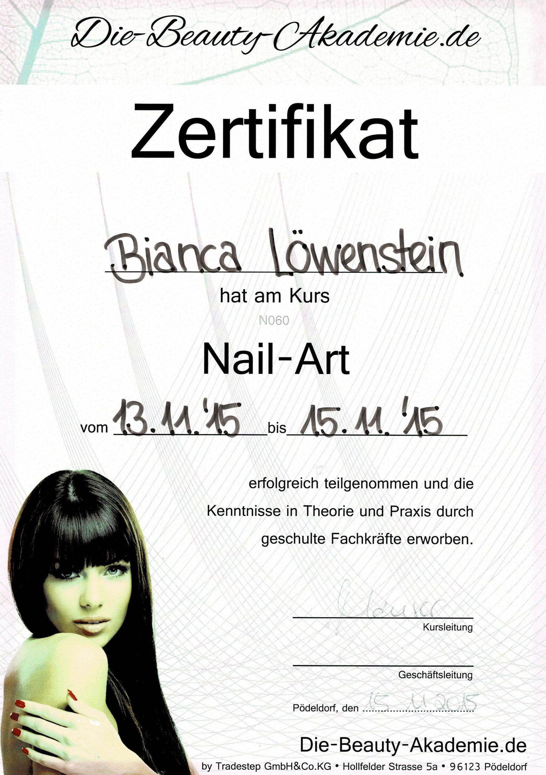 Zertifikat der Beauty Akademie für Nail-Art